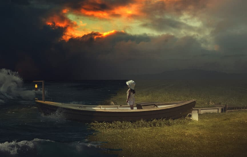 artistic image of kid on a boat with stormy weather