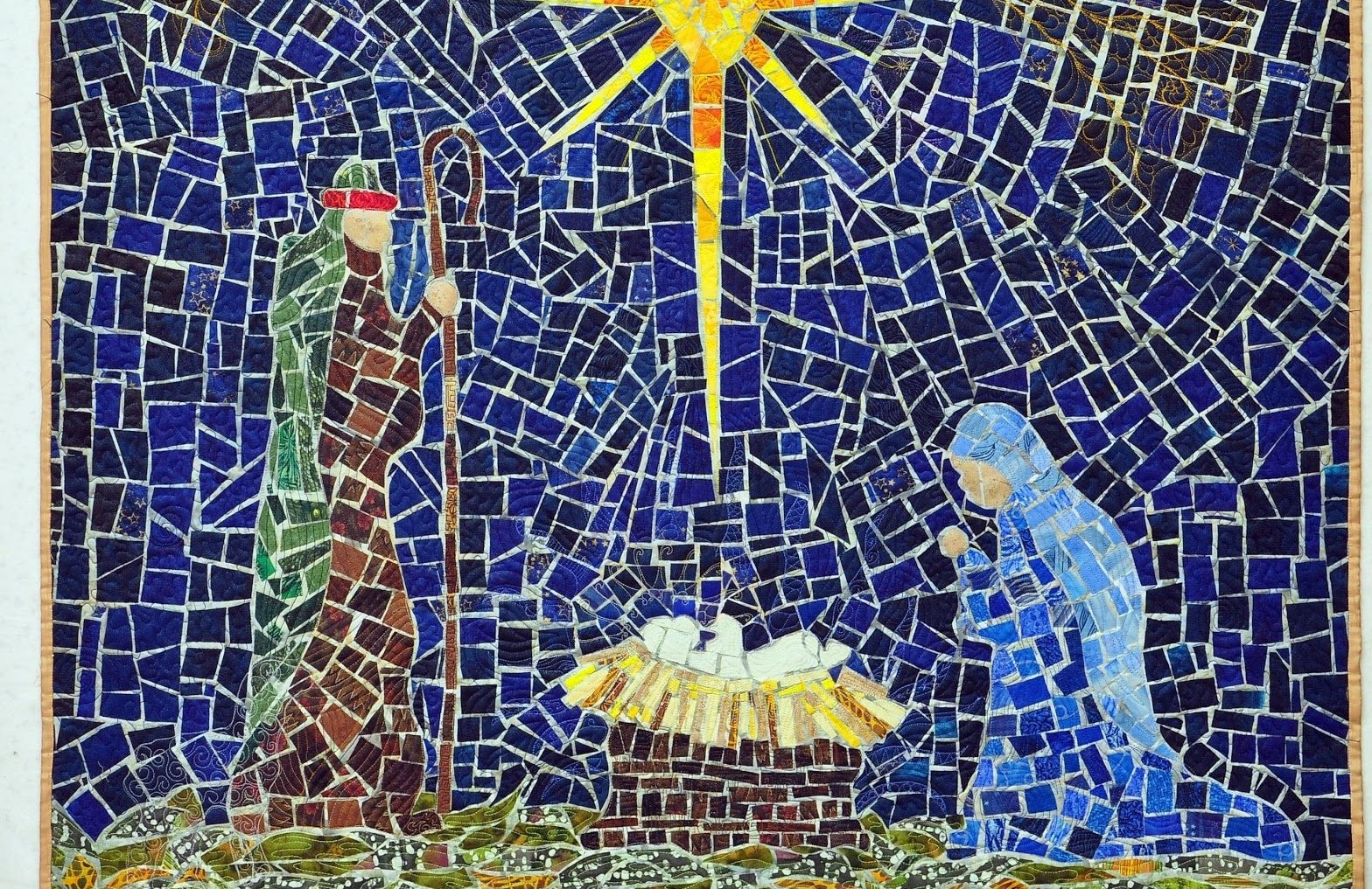 christ is born, Mary Jesus and the wise man, tiled and glass image